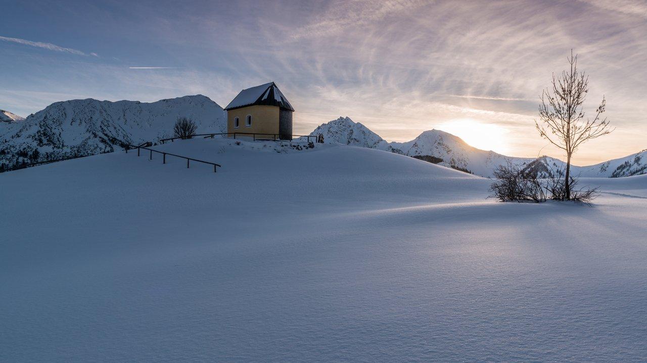 Tief verschneite Winterlandschaft im Tannheimer Tal, © TVB Tannheimer Tal/Achim Meurer